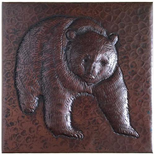 Hammered Copper Tile with Bear Design TL218