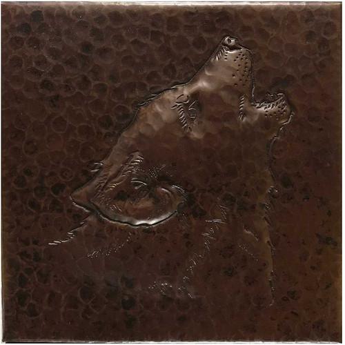 Hammered copper coyote tile TL219