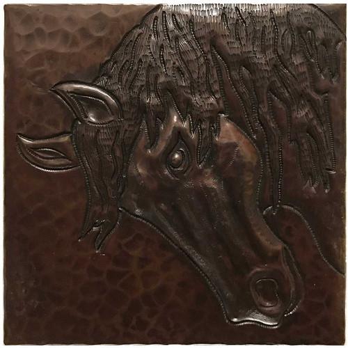 Horse Head hammered copper tile TL228