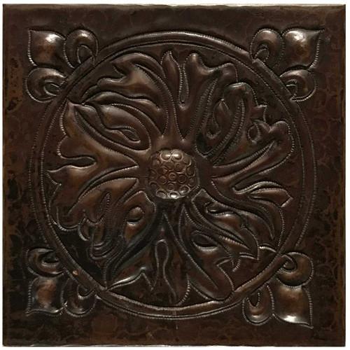 Foliage Medallion hammered copper tile TL229