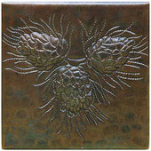 Triple Pinecone hammered copper tile TL242
