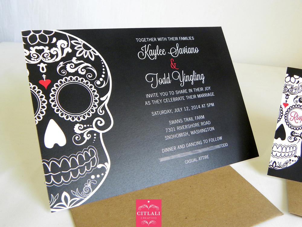 Bold Black Sugar Skull Wedding Invitations Citlali Creativo LLC
