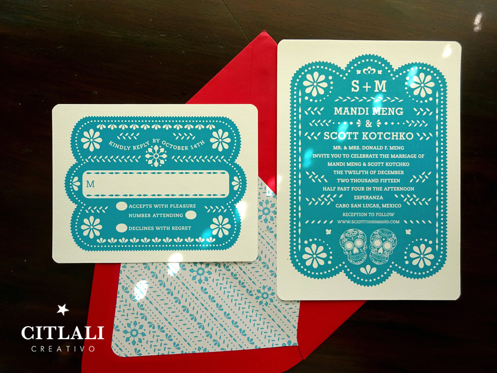 teal red papel picado wedding invitations with sugar skulls - Papel Picado Wedding Invitations