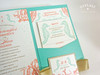 Beach Coral Reef & Seahorses Pocket Invitations + Ribbon
