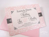 Damask Save the Date in pink & charcoal
