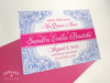Quinceañera Floral Paisley Henna Save the Date Card in hot pink & cobalt blue