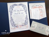 Navy & Coral Vintage Flourish Fairytale Birds Wedding Invitation Pocket Folder