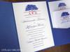 Oak Tree Blue Pocket Folder Wedding Invitation in coral & blues