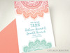Mandala Indian Wedding Save the Date Card in Coral / Aqua / Teal Ombre