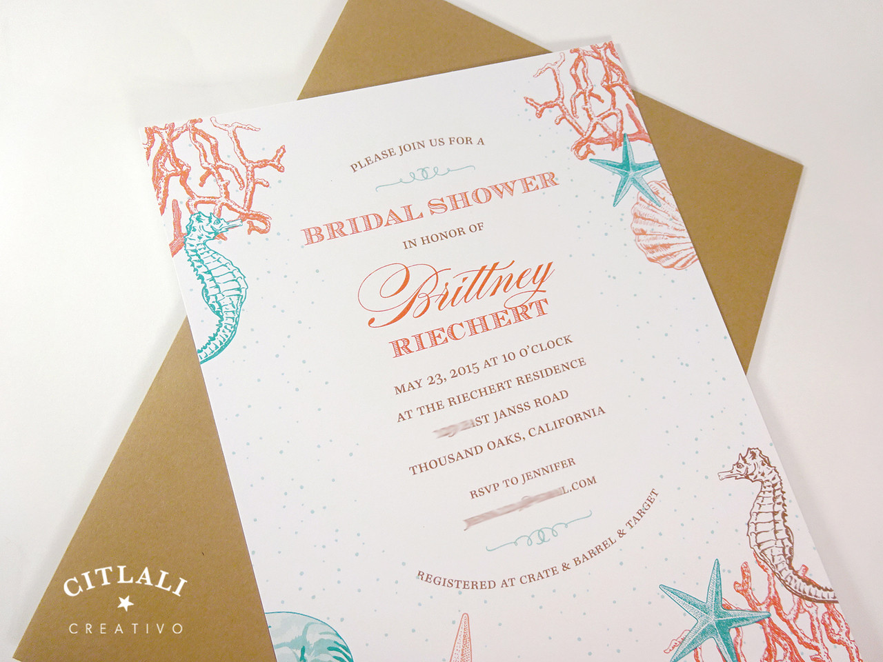 Coral Reef Beach Bridal Shower Invitations Citlali Creativo LLC – Beach Wedding Shower Invitations