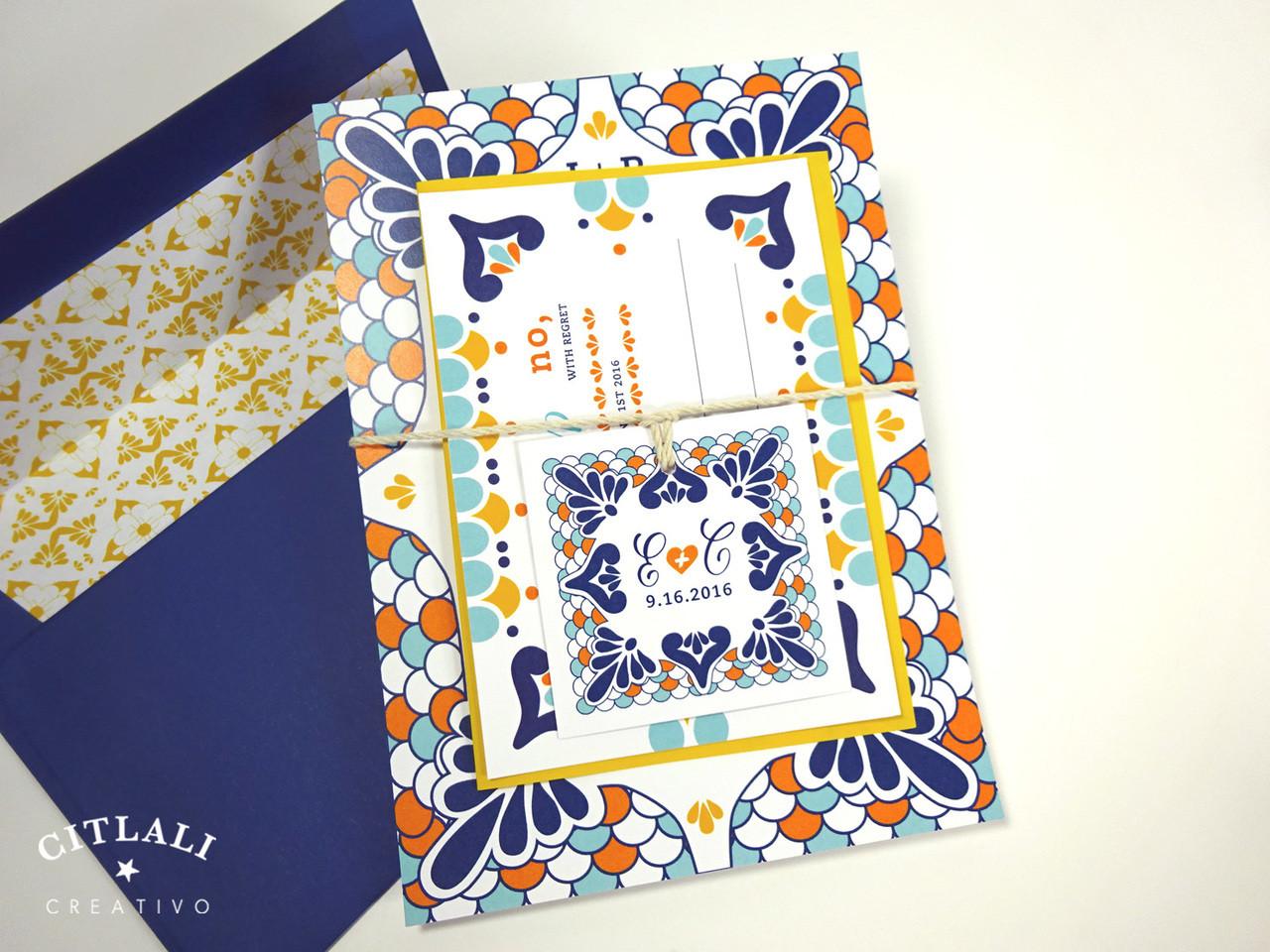 colorful talavera spanish tile wedding invitations spanish wedding invitations Talavera Spanish Tile Wedding Invitations