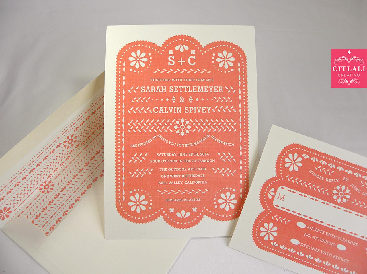 Papel Picado Wedding Invitation In Coral U0026 Printed Envelope Liner