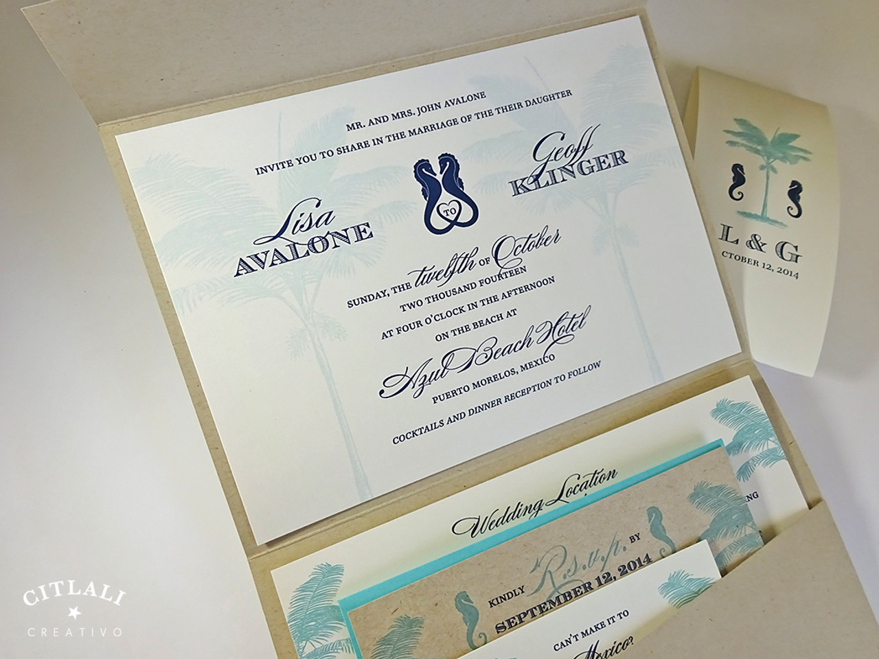 Palm Tree & Love Seahorses Rustic Kraft Pocket Wedding Invitations ...