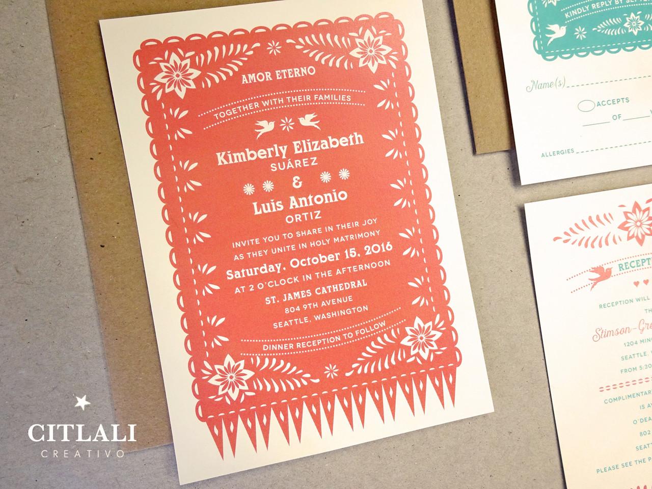 Coral Papel Picado Mexico Destination or Themed Wedding – Calligraphy Stencils for Wedding Invitations
