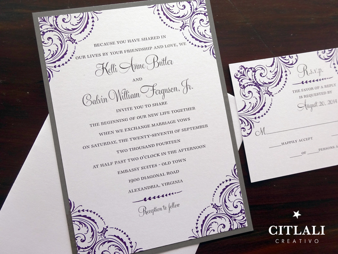 Purple Grey Corner Flourish Wedding Invitations