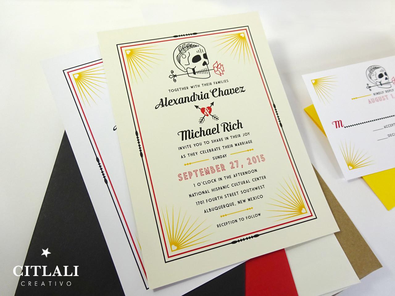 cool skull rose wedding invitations skull wedding invitations Modern Skull with Rose Heart Arrows Wedding Invitations