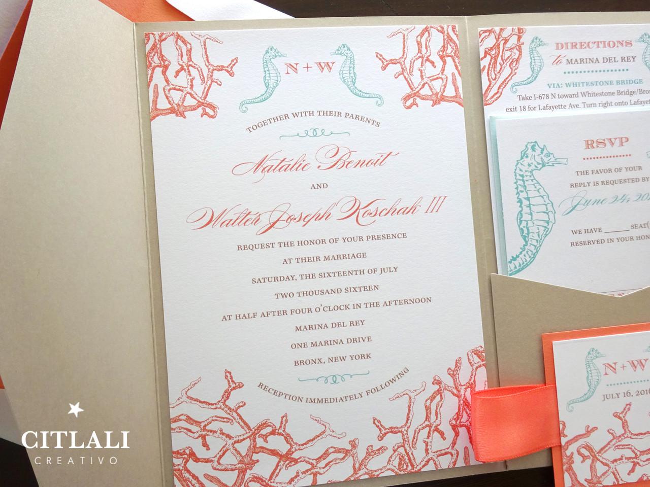 Coral Reef & Seahorses Pocket Wedding Invitations in Sand - Citlali ...