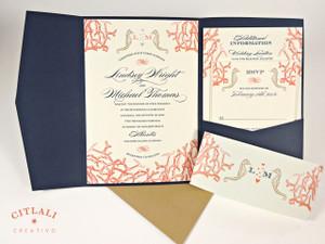 Coral Reef U0026 Seahorses Beach Travel Pocket Folder Wedding Invitations