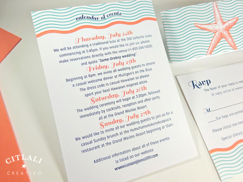 ... Wavy Double Starfish Wedding Invitation In Aqua U0026 Coral On Metallic  Stocks With Belly Band U0026