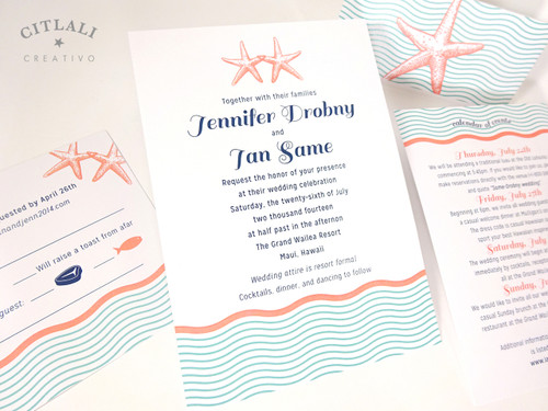 ... Wavy Double Starfish Wedding Invitation In Aqua U0026 Coral On Metallic  Stocks With Belly Band ...