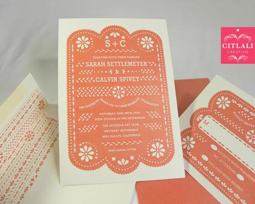 Papel Picado Wedding Invitation In Coral U0026 Printed Envelope Liner ...