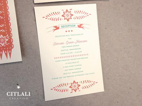... Fringe Papel Picado Wedding Invitations In Coral U0026 ...