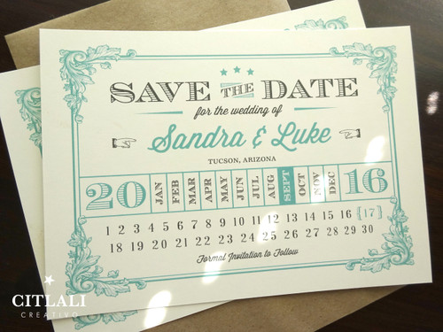 Vintage Flourish Calendar Style Wedding Save the Dates