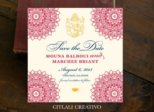 Mandala Ganesha Indian Wedding Save the Date Square Card