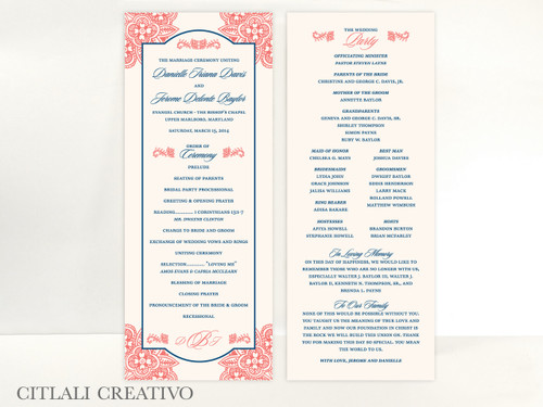 Corner Floral Paisley Wedding Ceremony Program cards