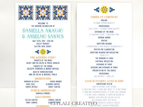 Talavera Spanish Tile Wedding Ceremony Program cards