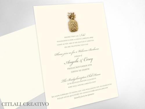 Golden Pineapple Rehearsal Dinner Invitations