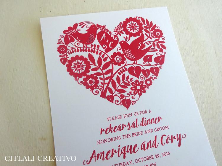 Love Birds in Heart Shape Papel Picado Rehearsal Dinner Invitations