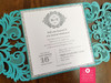 Glitter & Teal Lasercut Damask Folder Monogram Wedding Invitations