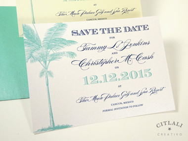 Palm Tree Save the Date - White Metallic Cover stock printed in Navy & Aqua Blue