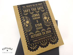 Rustic Kraft Papel Picado & Sugar Skulls Wedding Save the Dates in black