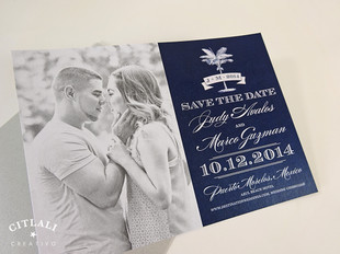 Palm Tree Banner Photo Wedding Save the Dates