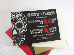 Black Day of the Dead Sugar Skull Wedding Save the Dates