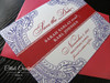 Floral Paisley Henna Save the Date Card in red & purple