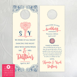 Elephant Henna Mehndi Do Not Disturb Wedding Guest Door Hangers
