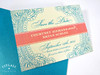Floral Paisley Henna Save the Date Card in teal & coral