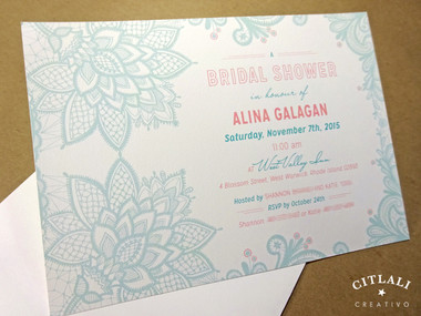 Intricate Floral Lace Bridal Shower Invitation in light aqua and pink