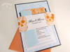 Day of the Dead / Dia de los Muertos Layered Wedding Invitation in light blue, orange and black