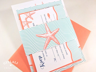 Wavy Double Starfish Wedding Invitation in Aqua & Coral on metallic stocks with belly band & matte envelopes