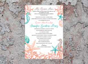 Ocean Coral Reef, Starfish, Seashells & Seahorses Quinceañera Birthday Invitation