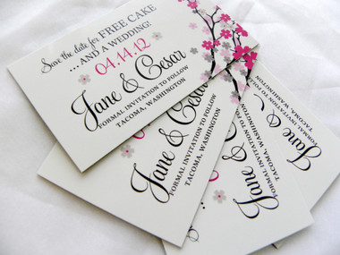 Cherry Blossom Branch Save the Date Magnet