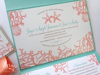 Starfish Coral Reef Beach Pocket Wedding Invitations