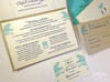 Palm Tree Aqua & Rustic Kraft Love Seahorses Beach Wedding Invitation
