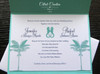 Palm Tree Aqua & Navy Love Seahorses Beach Wedding Invitation in metallic stocks