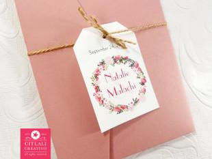 Garden Florals Wedding Invitations in Dusty Pink Pocket Folder