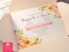 Peach / Blush Pink Pocket Envelope Floral Wedding invitations
